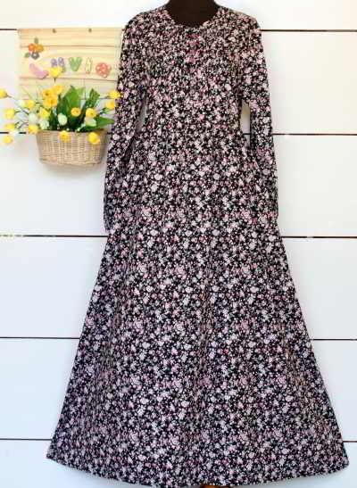 Baju Bahan Katun Jepang Hitam Motif Bunga Model