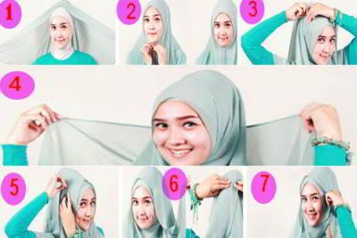 Cara Menggunakan Jilbab Segi Empat Modis