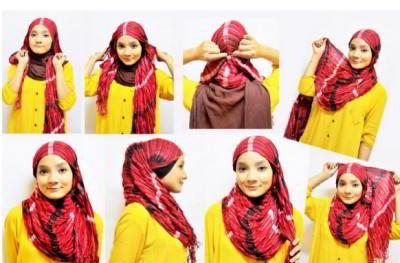 Cara Menggunakan Jilbab Selendang Modern